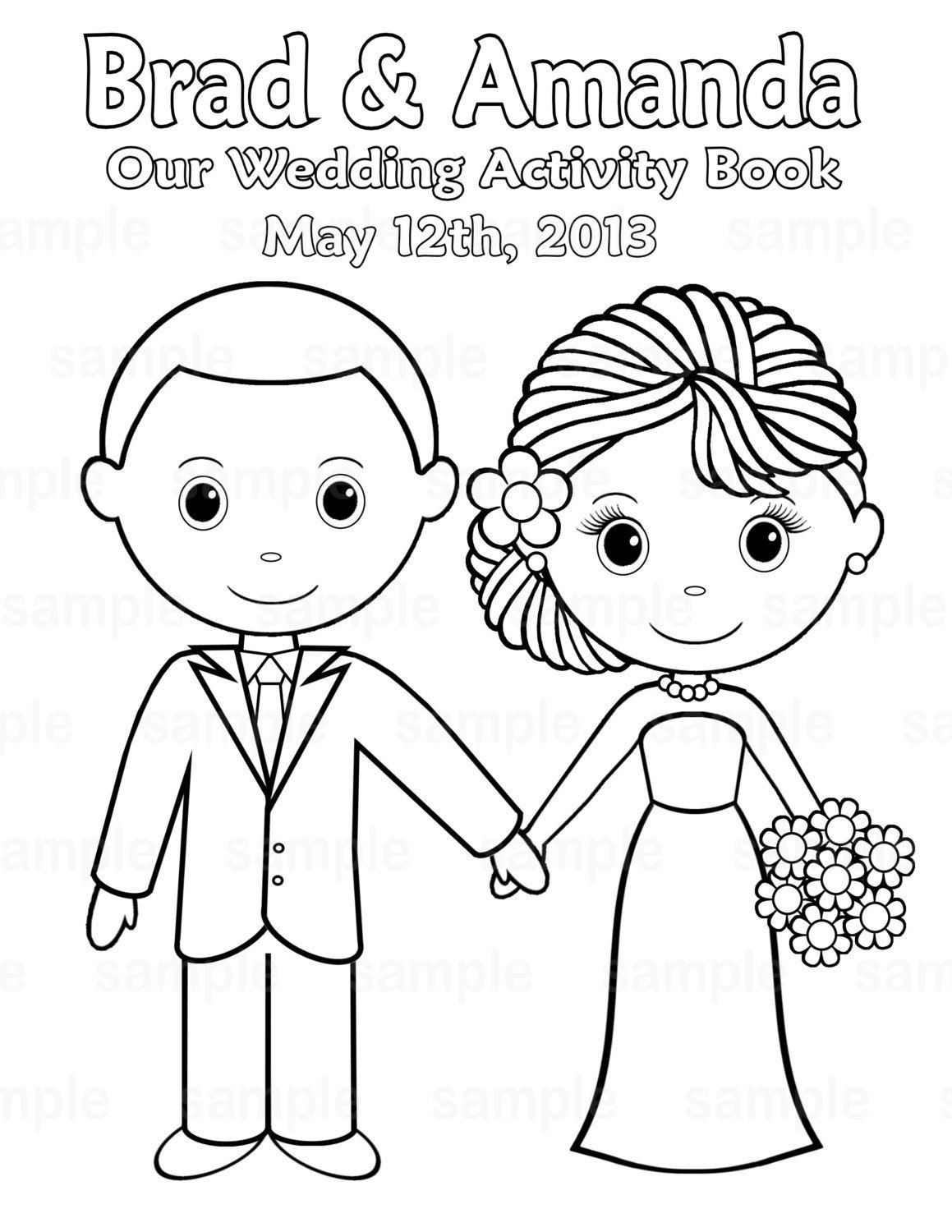 Coloring Book For Kids Pdf  Printable Personalized Wedding coloring activity book