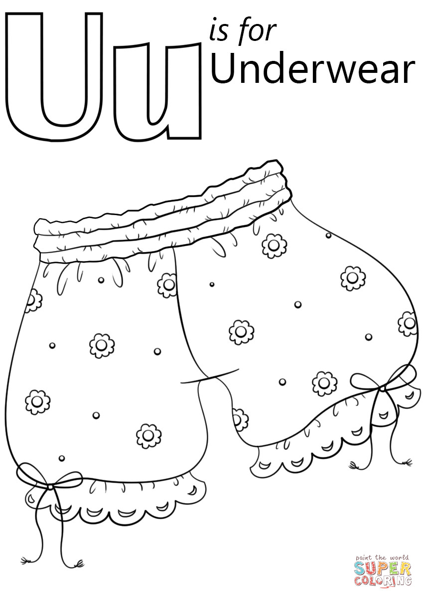 Coloring Pages Of Underware For Toddlers  U is for Underwear coloring page