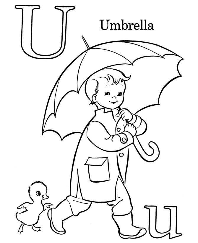 Coloring Pages Of Underware For Toddlers  Farm Alphabet ABC Coloring page Letter U