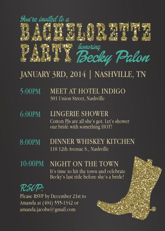 Country Bachelorette Party Ideas  Country Western Bachelorette Party Invitation Boots