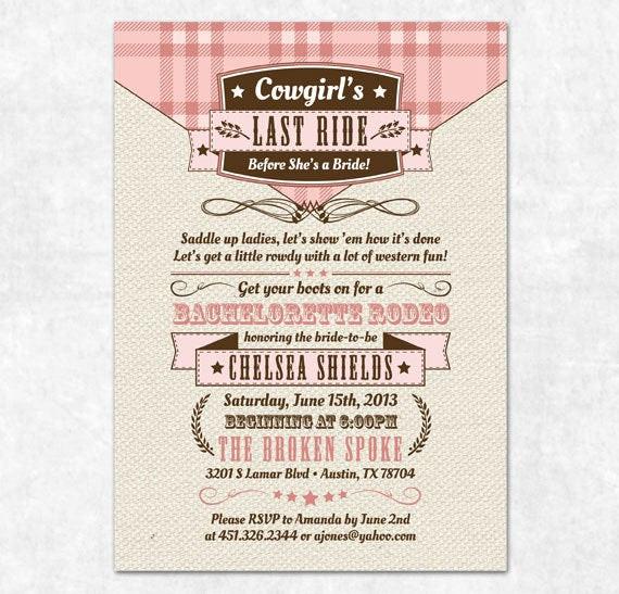 Country Bachelorette Party Ideas  Items similar to Printable Bachelorette Invitation