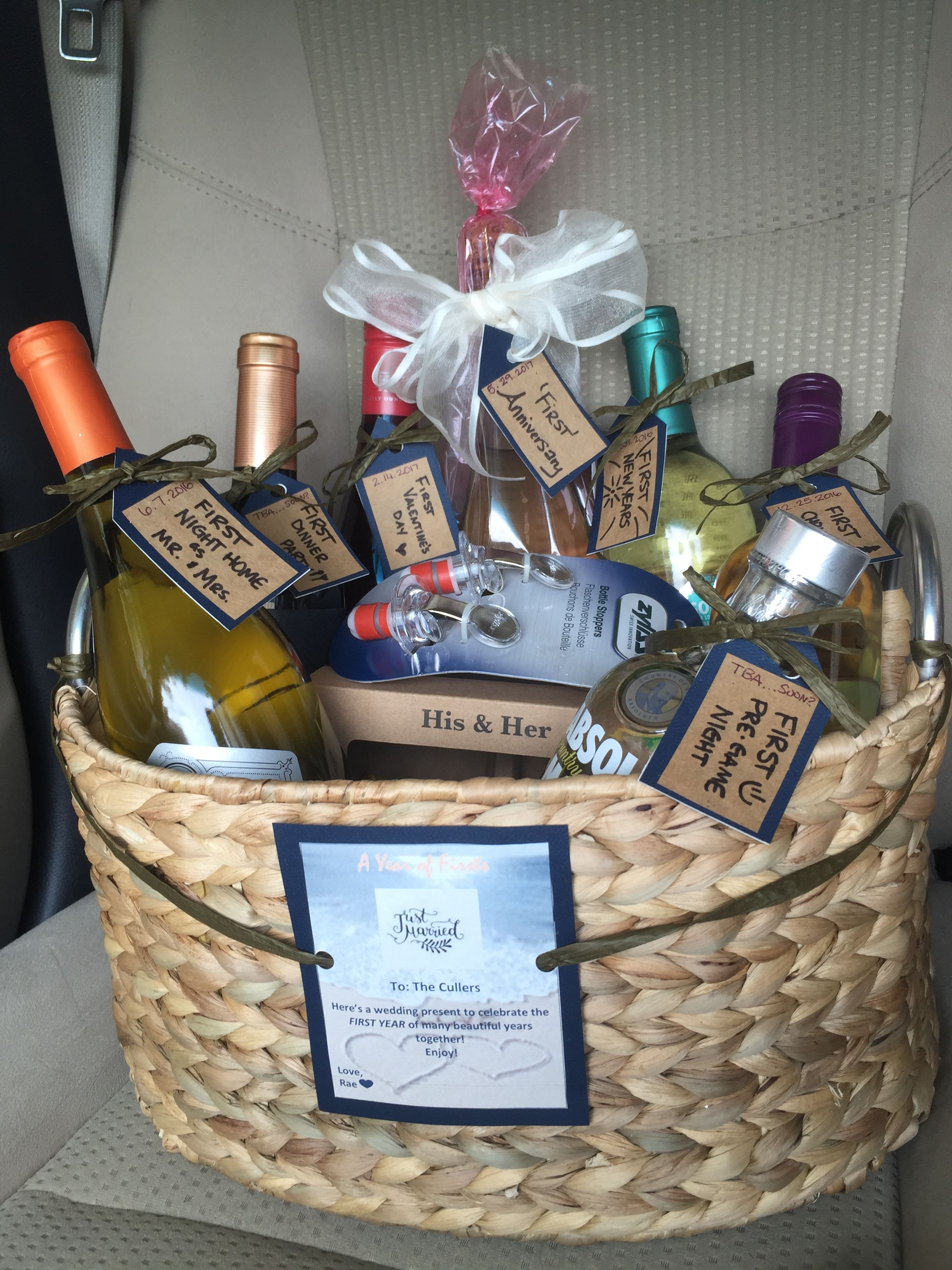 Couples Gift Basket Ideas  A year of firsts The BEST and easiest wedding present for