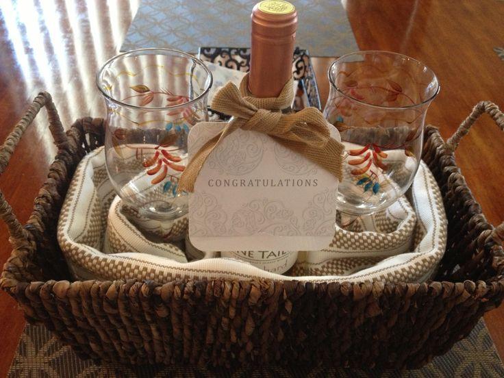 Couples Gift Basket Ideas  DIY house warming t wicker basket kitchen towels 2