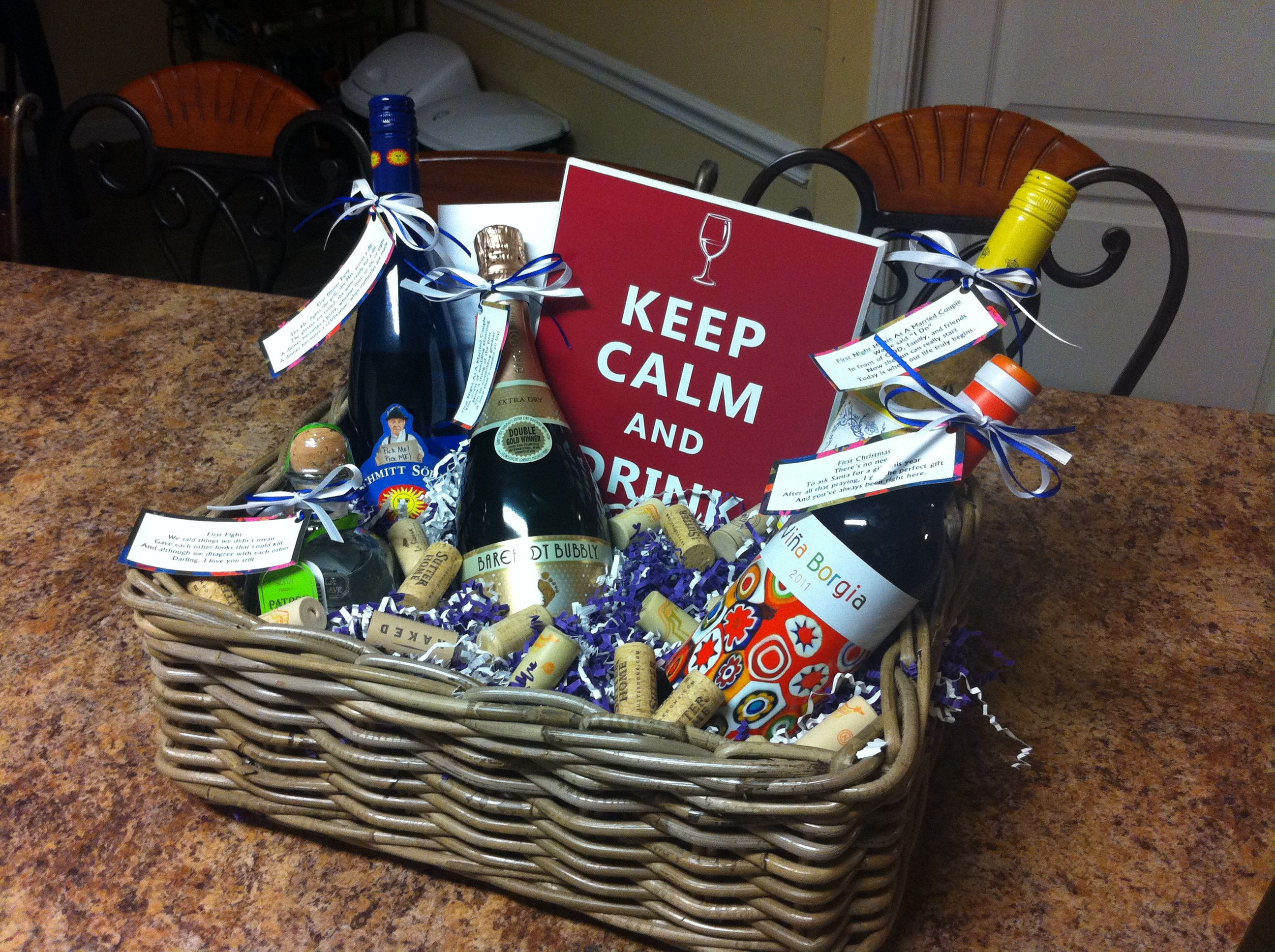 """Couples Gift Basket Ideas  """"Basket of Firsts"""" for a stock the bar wedding shower"""