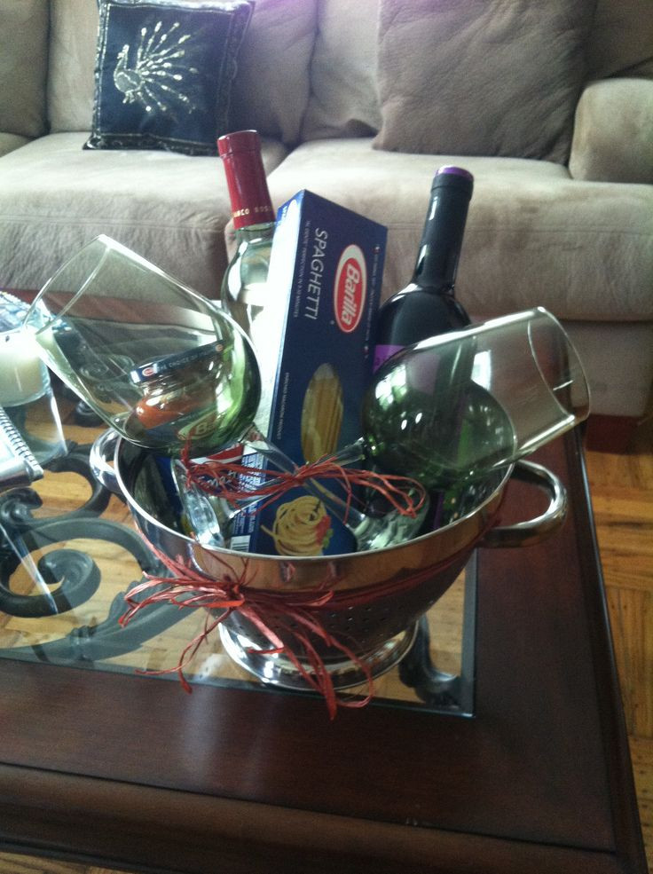 Couples Gift Basket Ideas  House warming t for a couple pasta night with wine