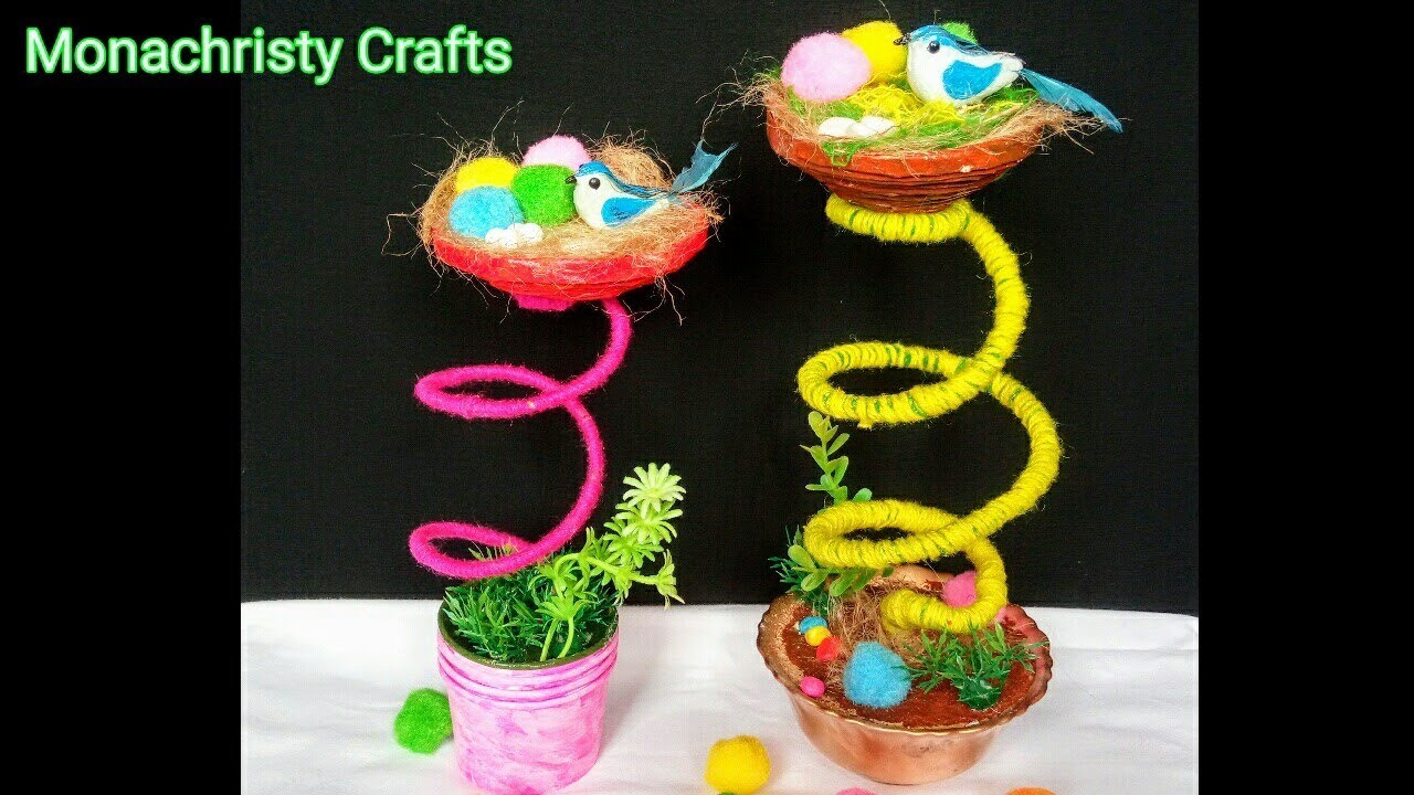 Craft Ideas For Kids With Waste Material  How to make Birds Nest Craft from Waste materials