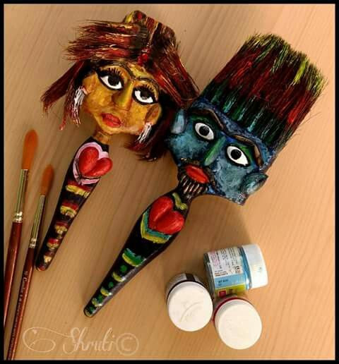 Craft Ideas For Kids With Waste Material  Old spoiled painting brushes best out of waste