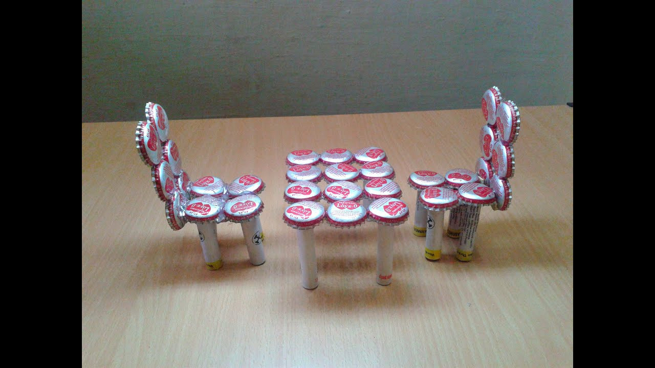Craft Ideas For Kids With Waste Material  Make Miniature Table & Chairs from Waste Bottle Caps