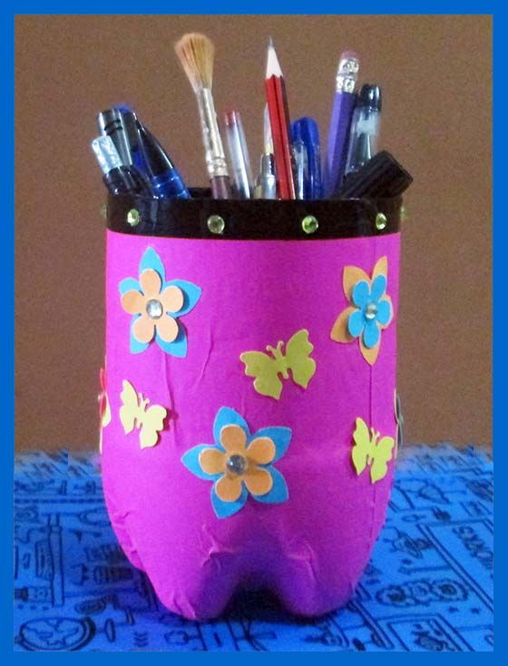 Craft Ideas For Kids With Waste Material  Pen Stand Made with Waste Material