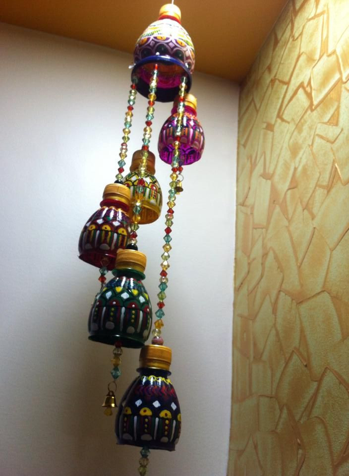 Craft Ideas For Kids With Waste Material  Wind chimes made out of waste plastic bottles