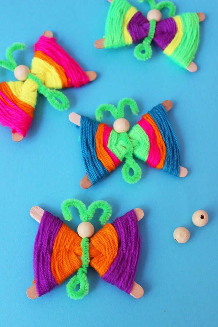 Crafts With Kids  Popsicle Stick Butterflies How to make colorful yarn