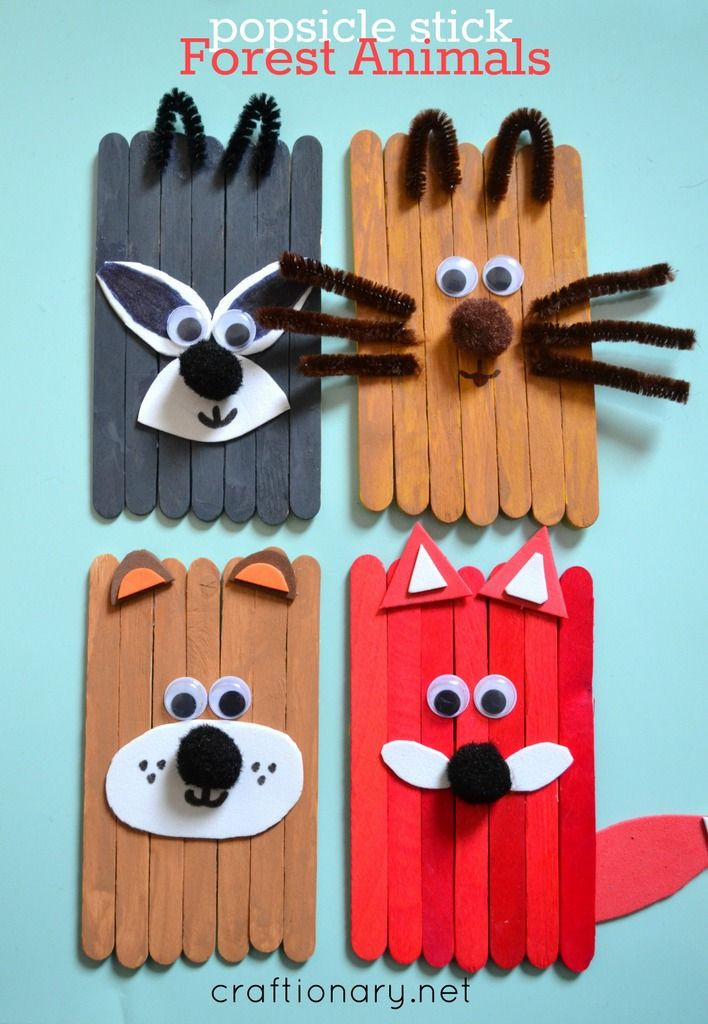 Crafts With Kids  Popsicle stick animals mess free fun for kids
