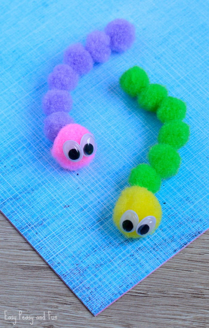 Crafts With Kids  Pom Pom Caterpillar Craft Easy Peasy and Fun