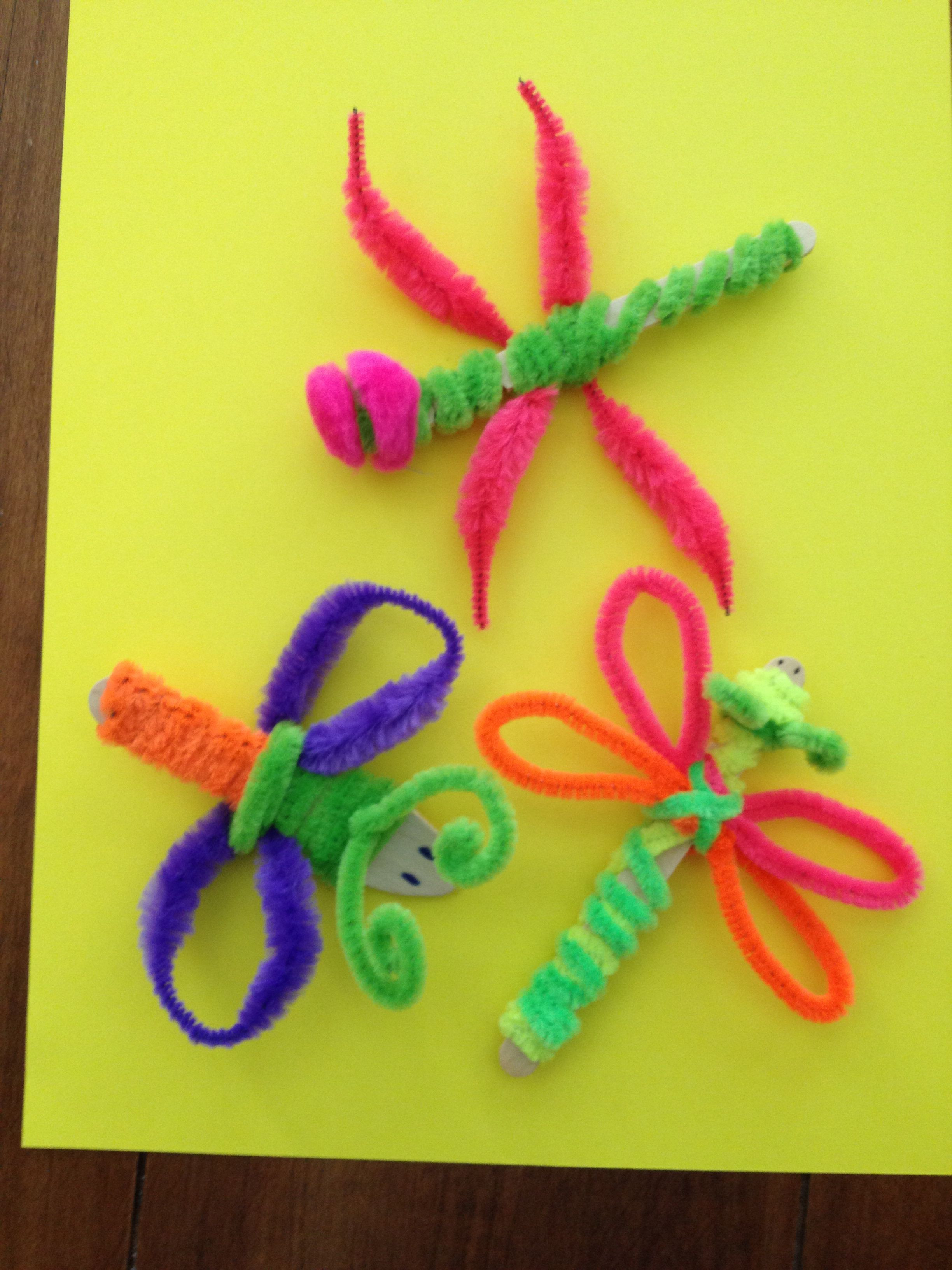 Crafts With Kids  Pipe cleaners and Popsicle stick bugs I used a notched