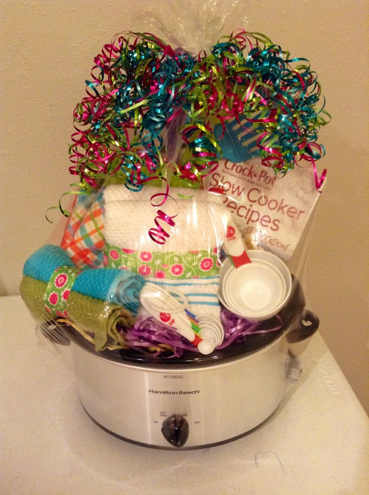 Crock Pot Gift Basket Ideas  Silent auction basket You could maybe find a cheap crock