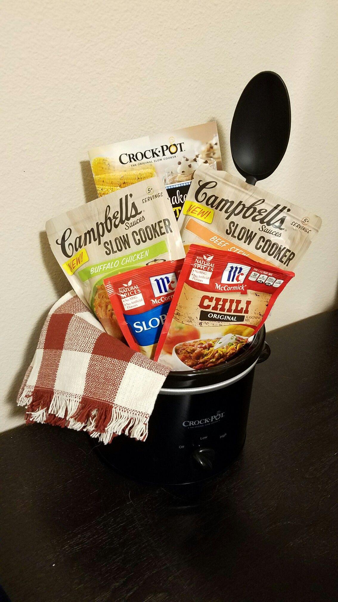 Crock Pot Gift Basket Ideas  Crockpot kitchen Dinner Gift Basket Silent auction