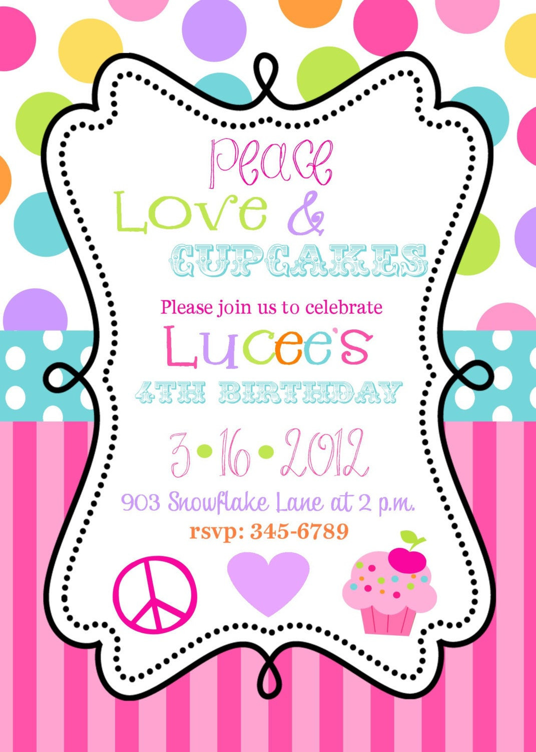 Cupcake Birthday Invitations  12 Peace Love Cupcakes Birthhday Party invitations with