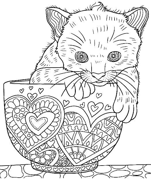 Cute Animal Coloring Pages For Adults  Cute Kitten in a Cup colouring page