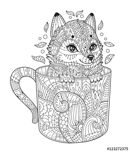 """Cute Animal Coloring Pages For Adults  """"Fox in cup Adult antistress coloring page with animal in"""
