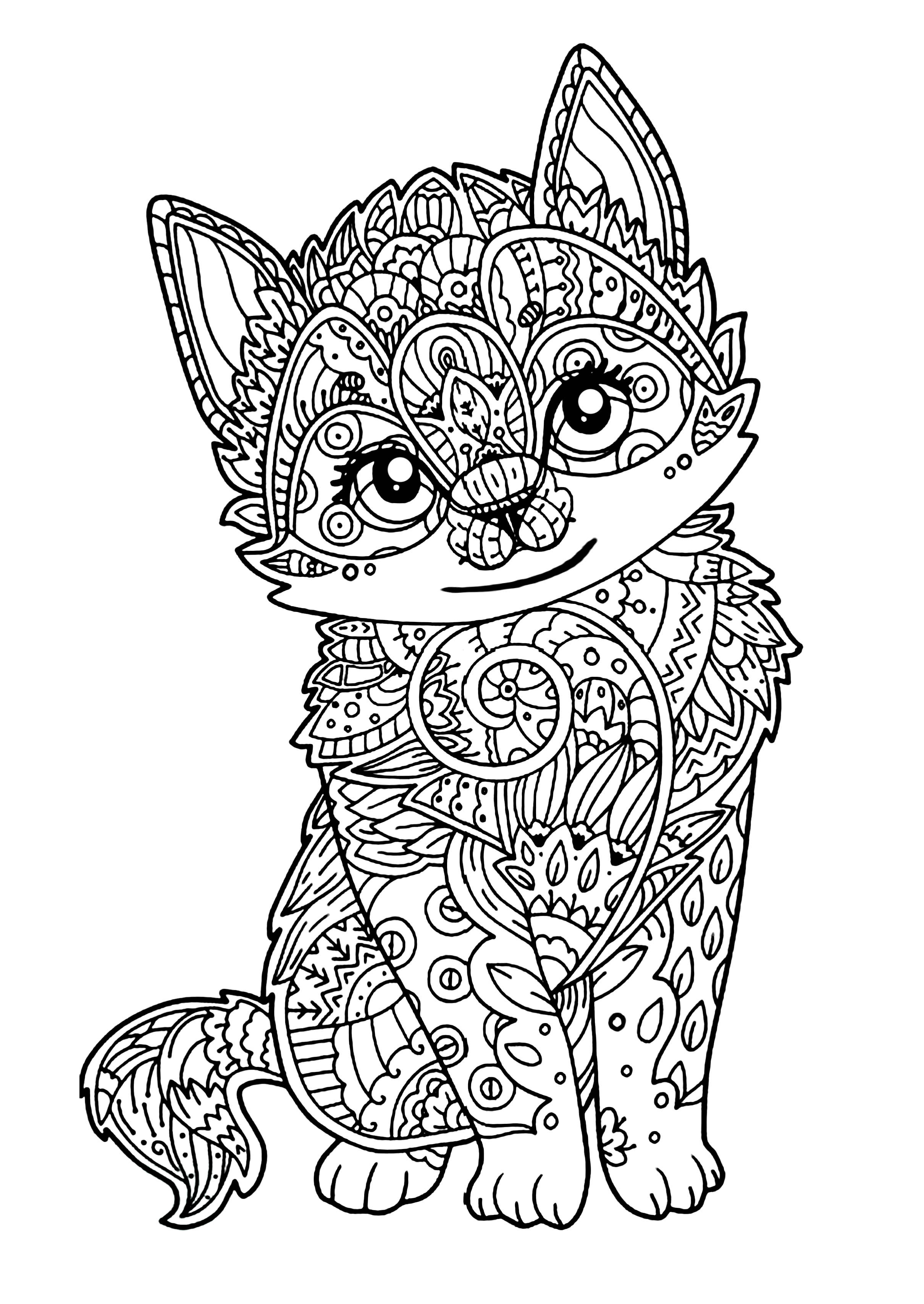 Cute Animal Coloring Pages For Adults  Cute kitten Cats Adult Coloring Pages