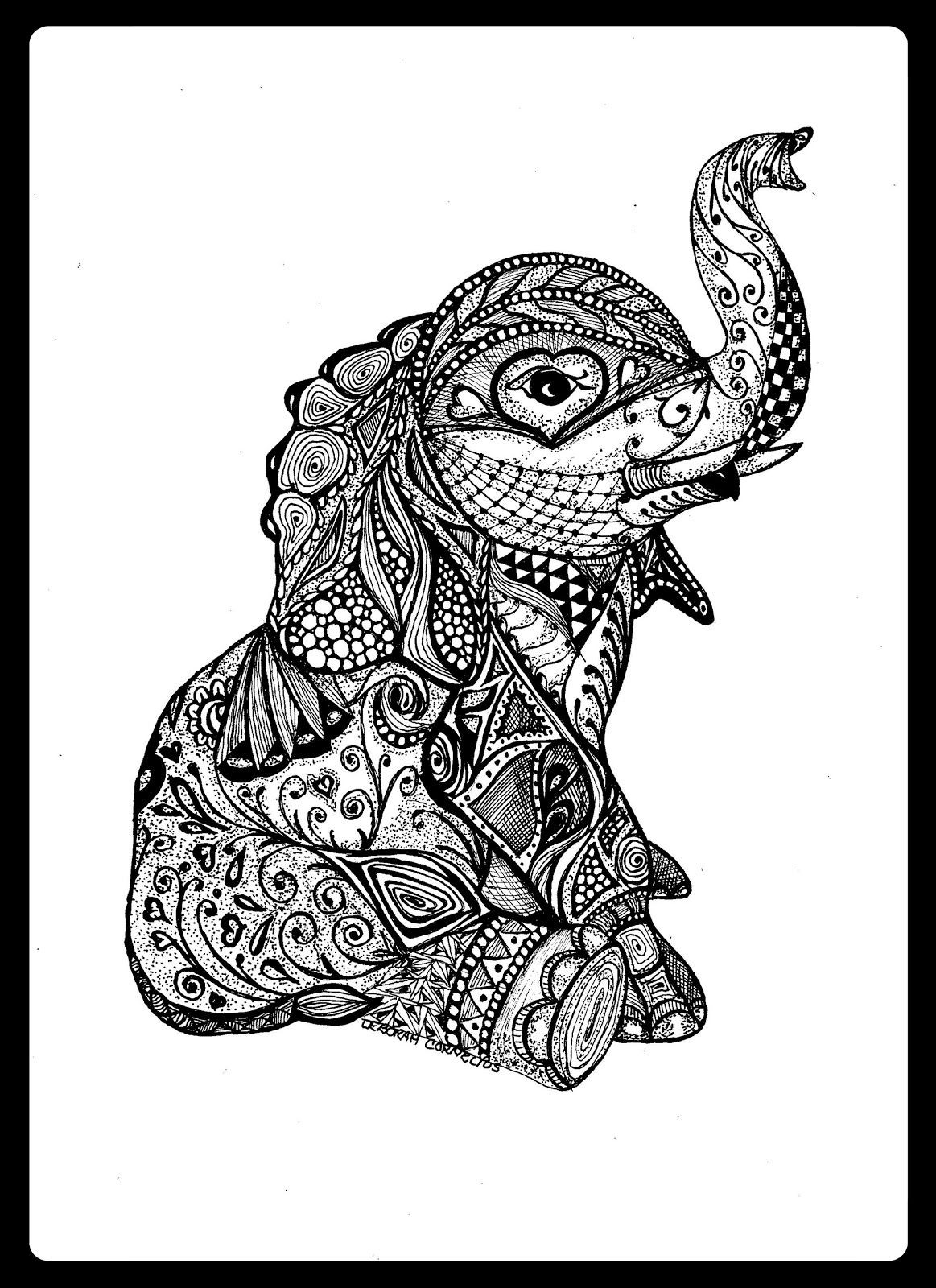 Cute Animal Coloring Pages For Adults  Baby Elephant Animal Wildlife Insect Coloring pages