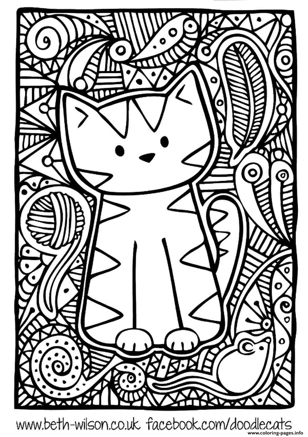 Cute Coloring Pages For Adults  Adult Difficult Cute Cat Coloring Pages Printable