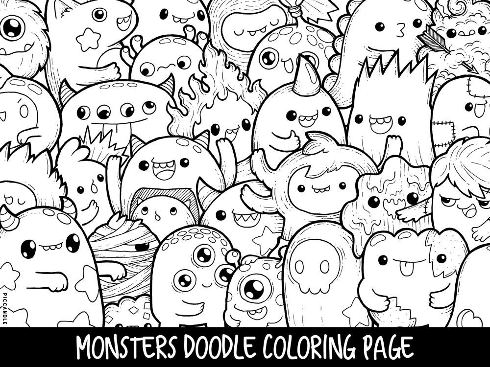 Cute Coloring Pages For Adults  Monsters Doodle Coloring Page Printable Cute Kawaii Coloring