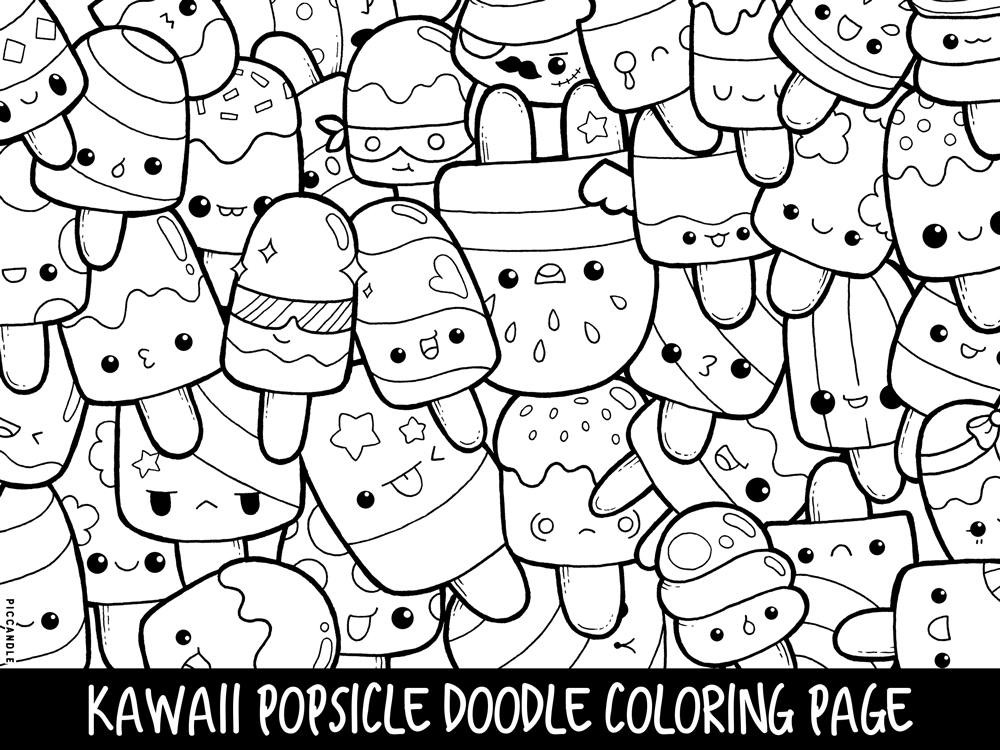Cute Coloring Pages For Adults  Popsicle Doodle Coloring Page Printable Cute Kawaii Coloring