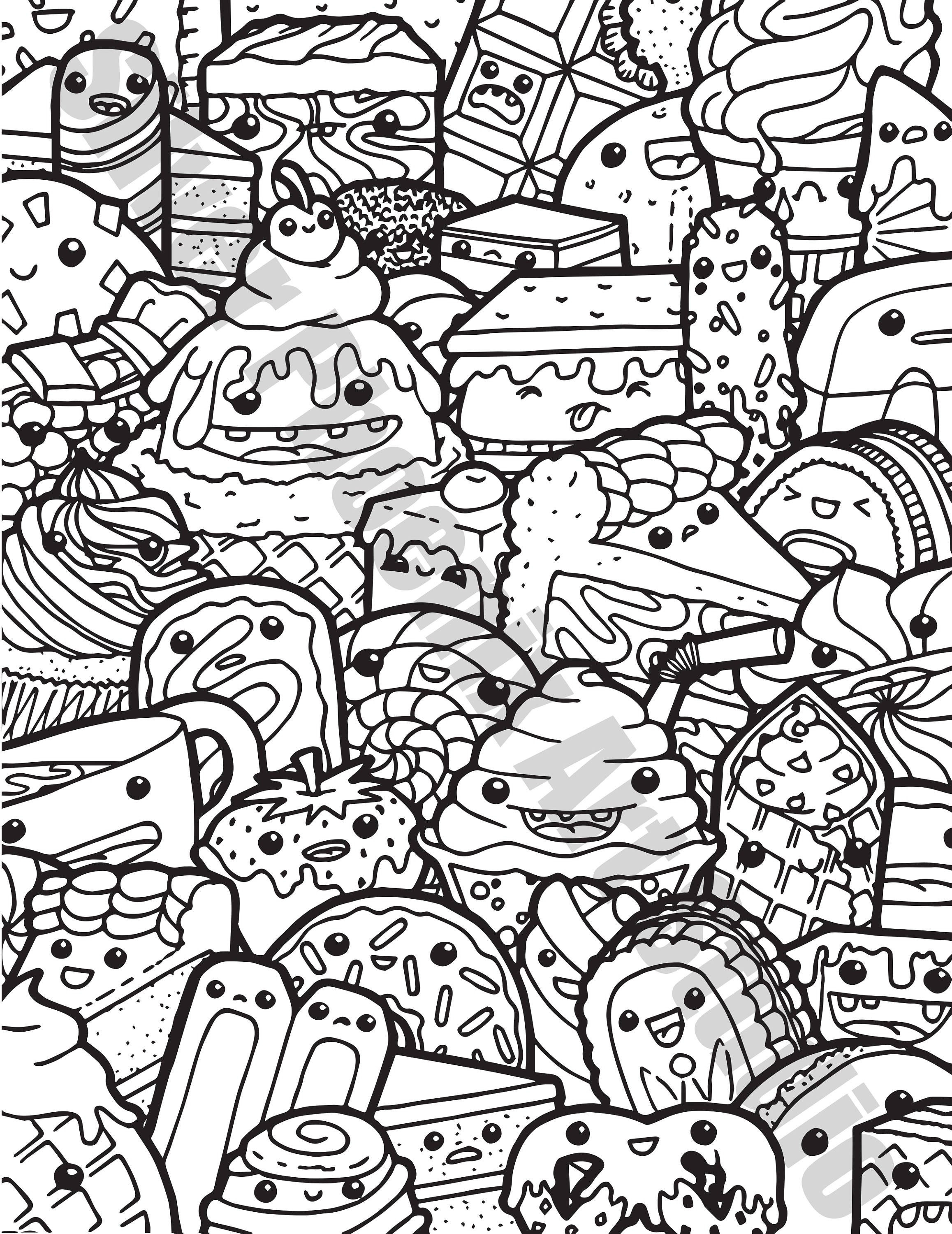 Cute Coloring Pages For Adults  Kawaii Sweets Doodle Adult Coloring Page Printable Digital