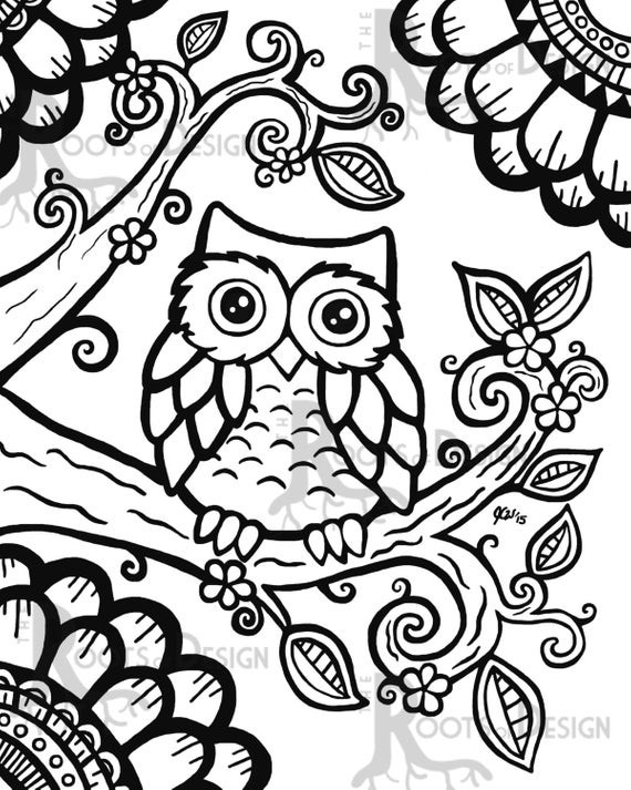 Cute Coloring Pages For Adults  INSTANT DOWNLOAD Coloring Page Cute Owl zentangle by