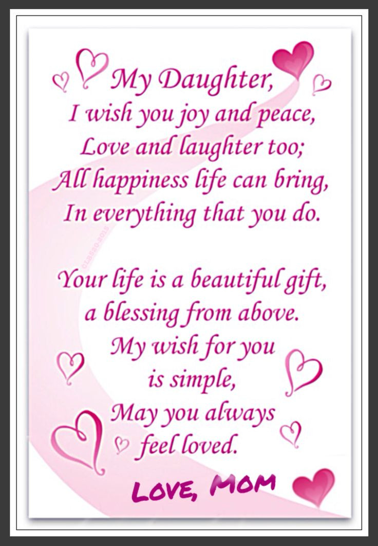 Daughter Quotes From Mother  Love Daughter Love to Daughter from Mom