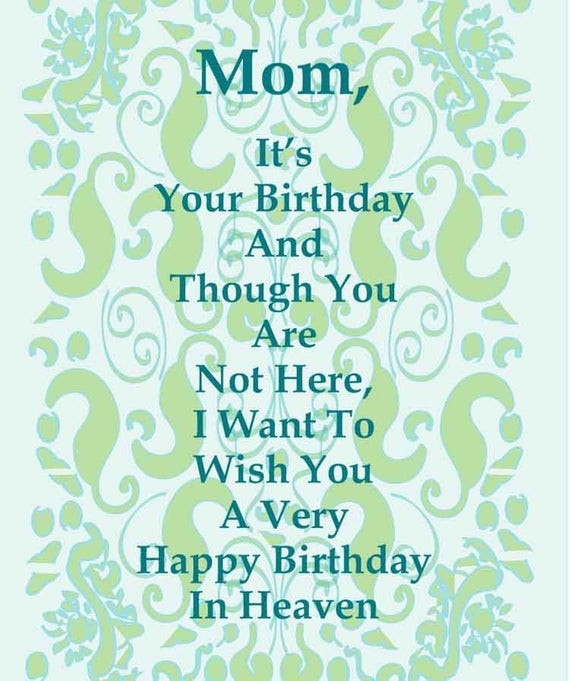 Deceased Mother Birthday Quotes  Items similar to Happy Birthday Card To a Deceased Mom