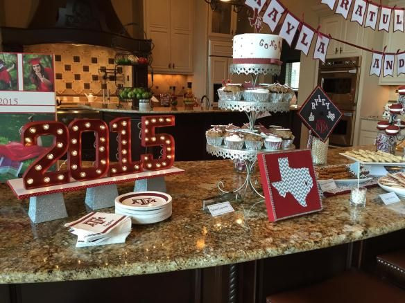 Dessert Table Ideas For Graduation Party  Graduation party décor dessert table Texas A&M