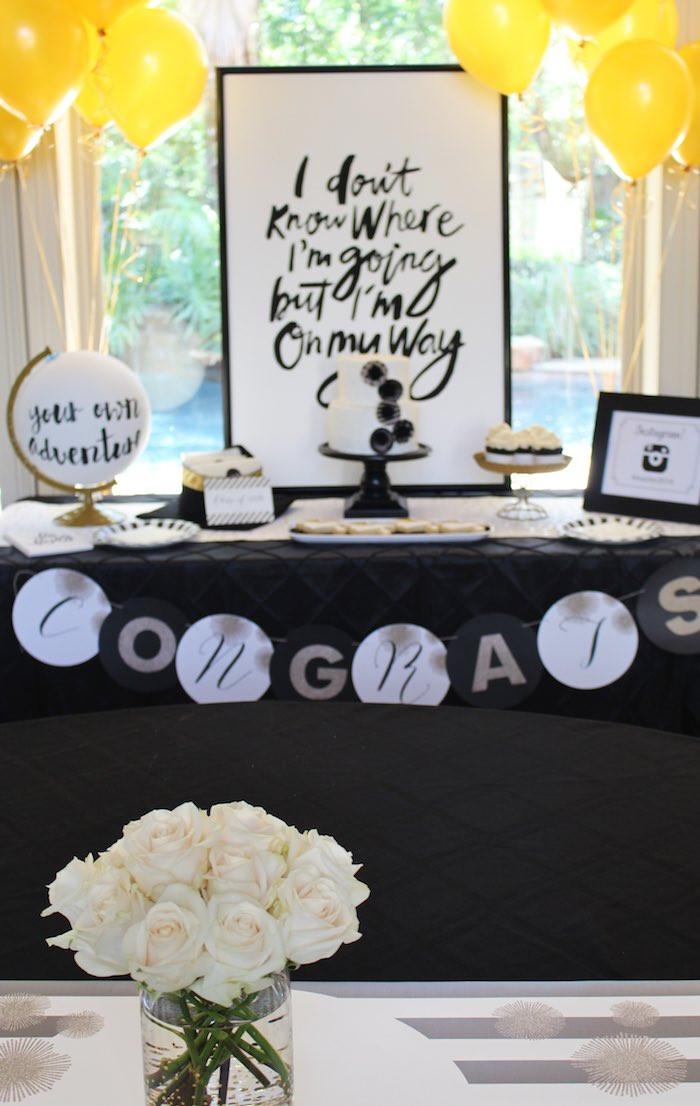 Dessert Table Ideas For Graduation Party  Kara s Party Ideas Black White Gold Graduation Party