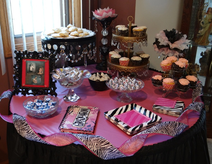 Dessert Table Ideas For Graduation Party  Pink & black zebra dessert table for my daughters