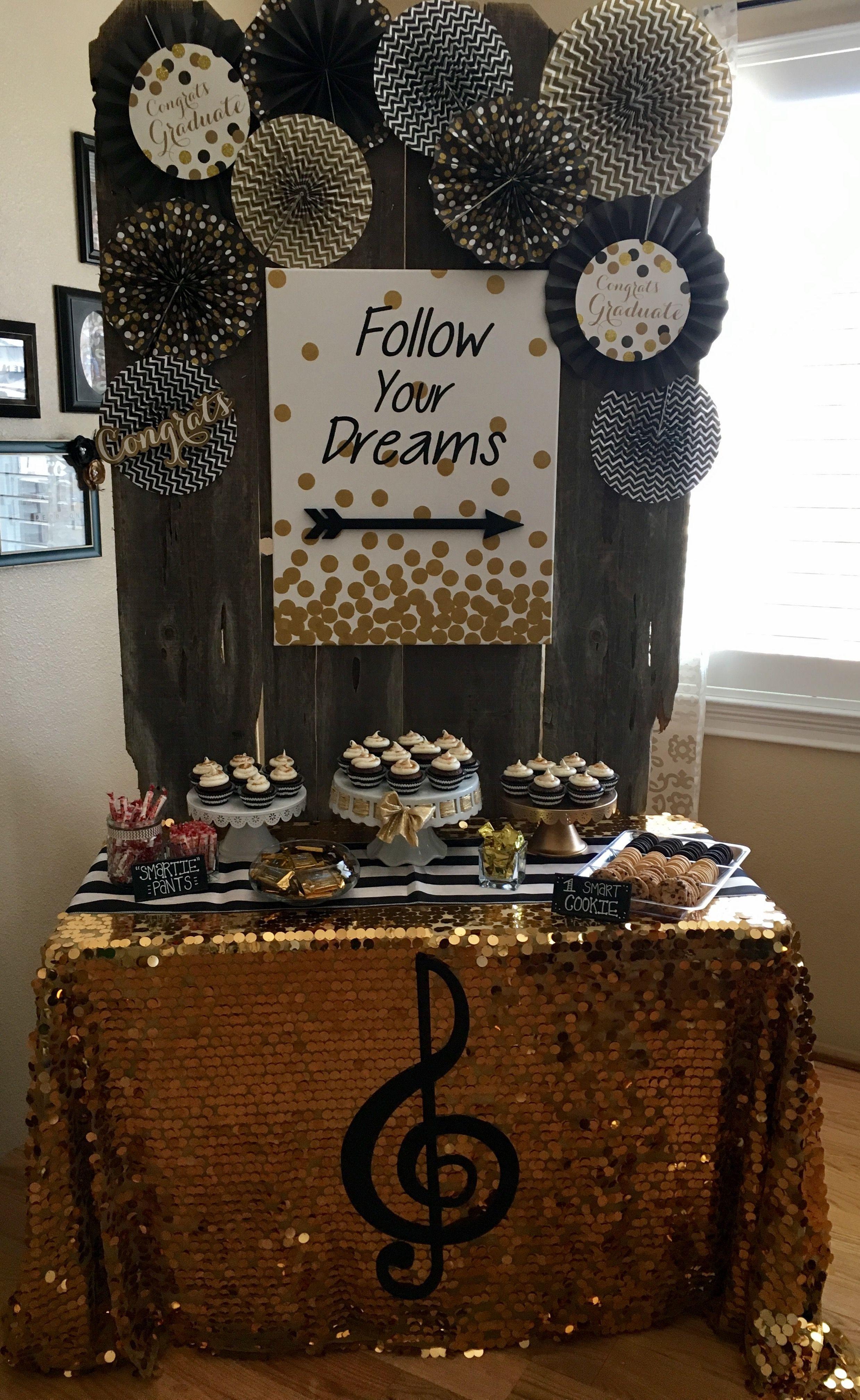 Dessert Table Ideas For Graduation Party  graduation backdrop • black and gold • graduation party