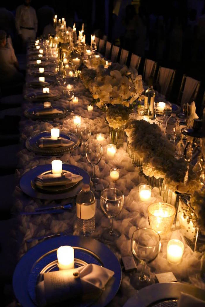Dinner Party Decorating Ideas  Kara s Party Ideas Elegant White Outdoor Dinner Party