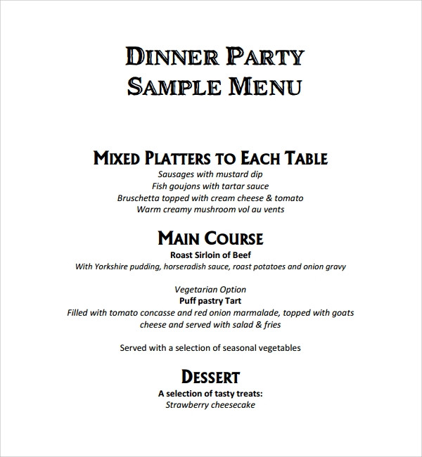 Dinner Party For 8 Menu Ideas  Sample Event Menu Template 8 Free Documents in PDF Word