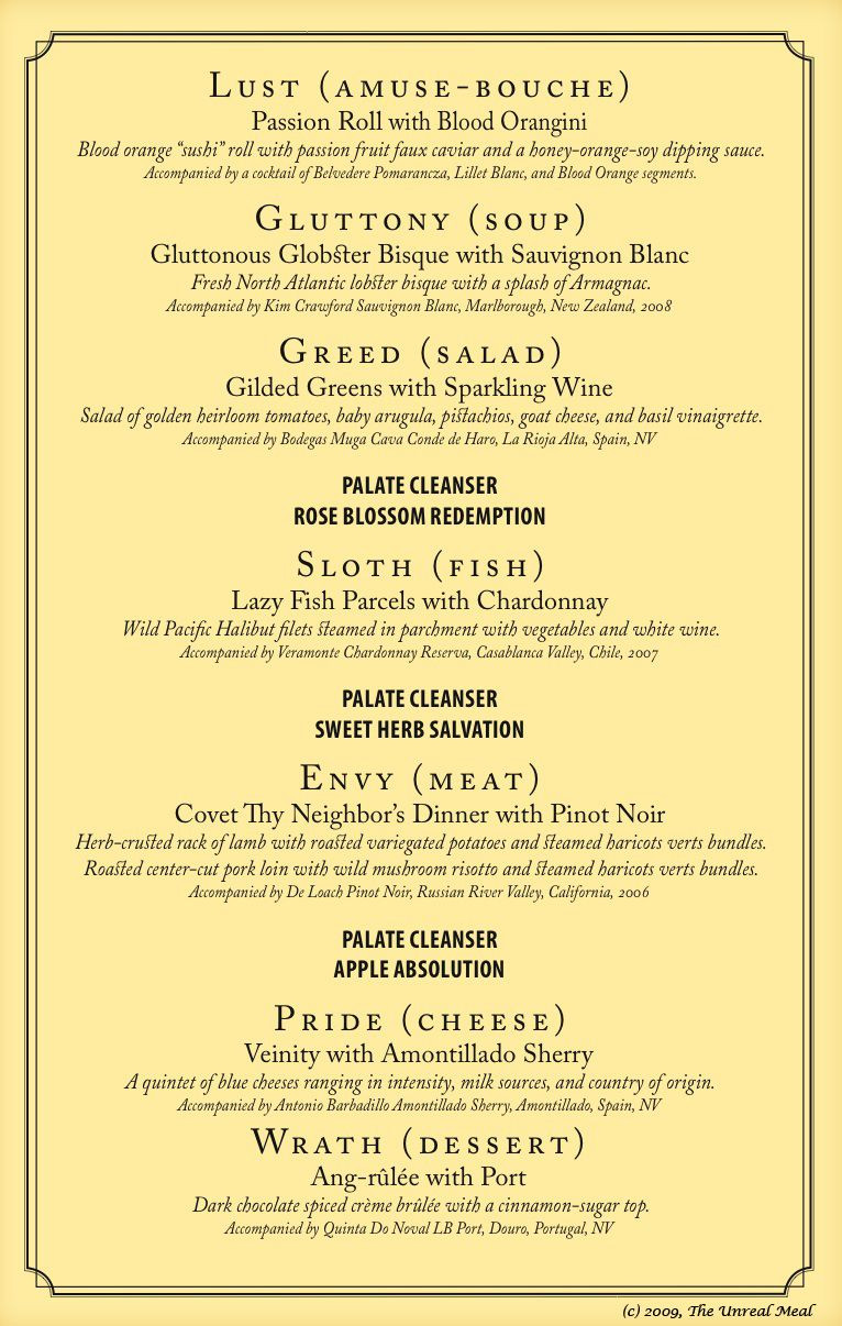 Dinner Party For 8 Menu Ideas  ooooh This would be a fun idea 7 deadly sins 7 course