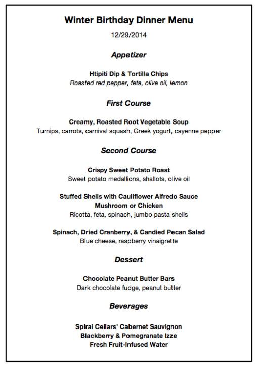 Dinner Party For 8 Menu Ideas  winter dinner party menu alfredo shells & sweet potatoes