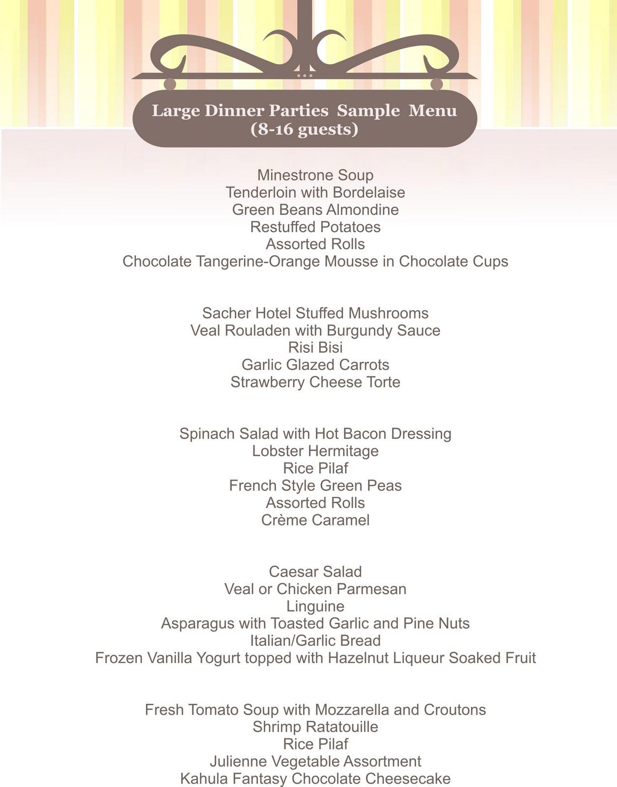 Dinner Party For 8 Menu Ideas  Mel s Cuisine The Cornucopia Catering