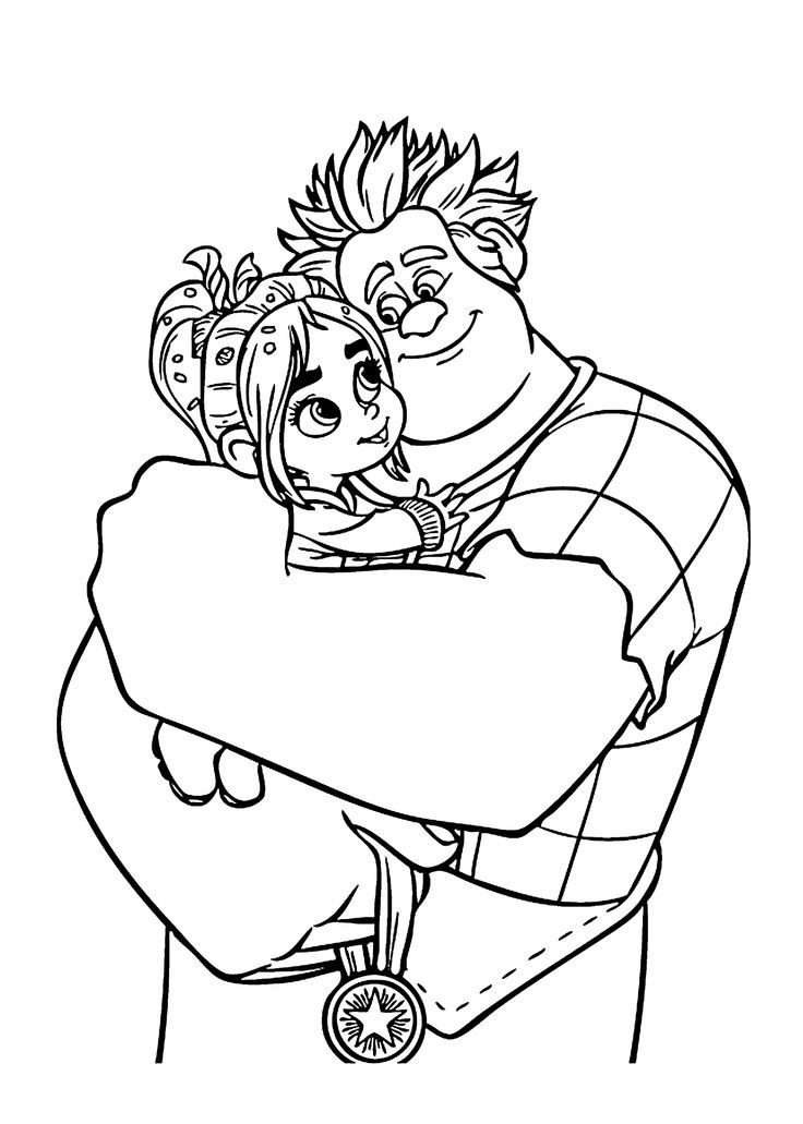 Disney Coloring Books For Kids  Ralph and Vanellope coloring pages for kids printable