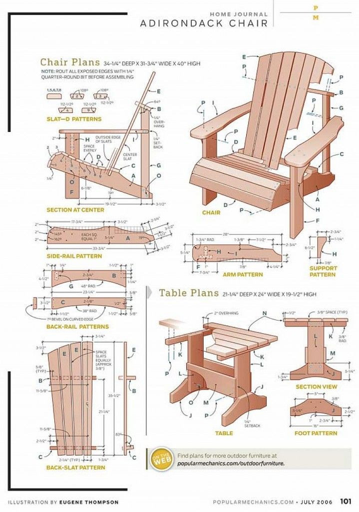 DIY Adirondack Chairs Plans  Free DIY Adirondack Chair Plans For the Home