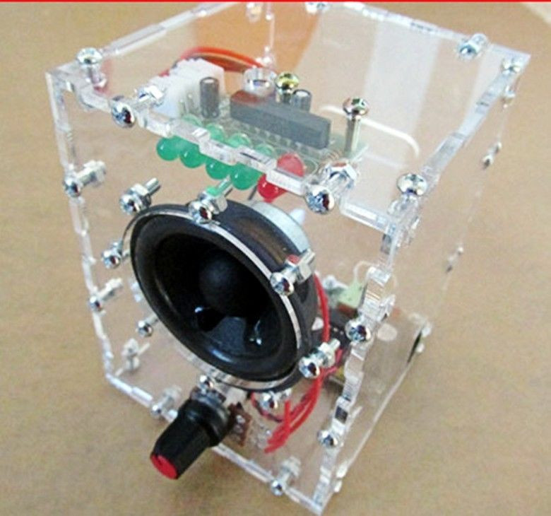 DIY Audio Amplifier Kits  New Transparent Speaker Box LM386 Amplifier Kit With Case