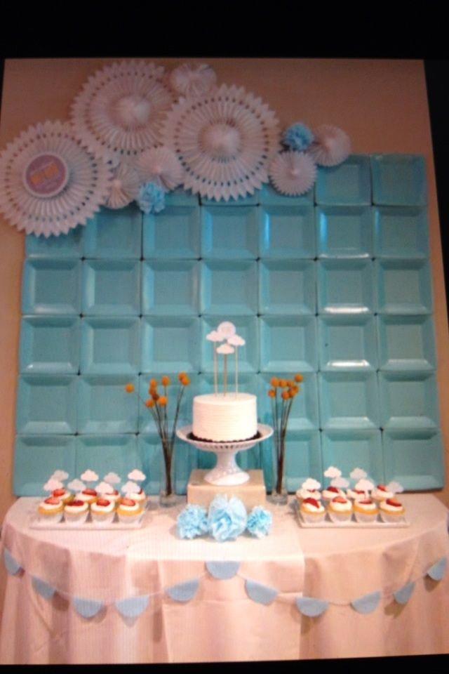 DIY Baby Shower Backdrop  Wall decor backdrop at a shower for a baby boy using