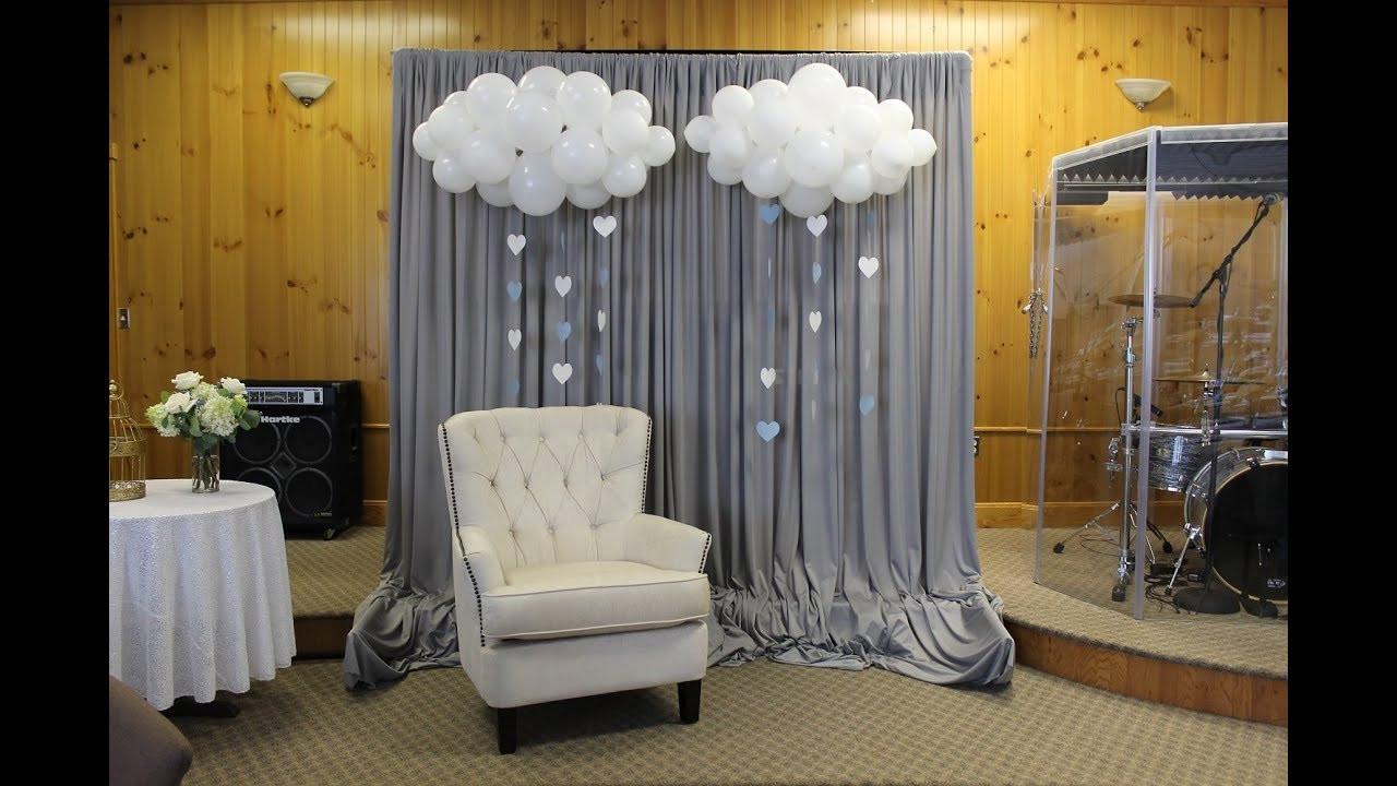 DIY Baby Shower Backdrop  Baby Shower Backdrop Set Up