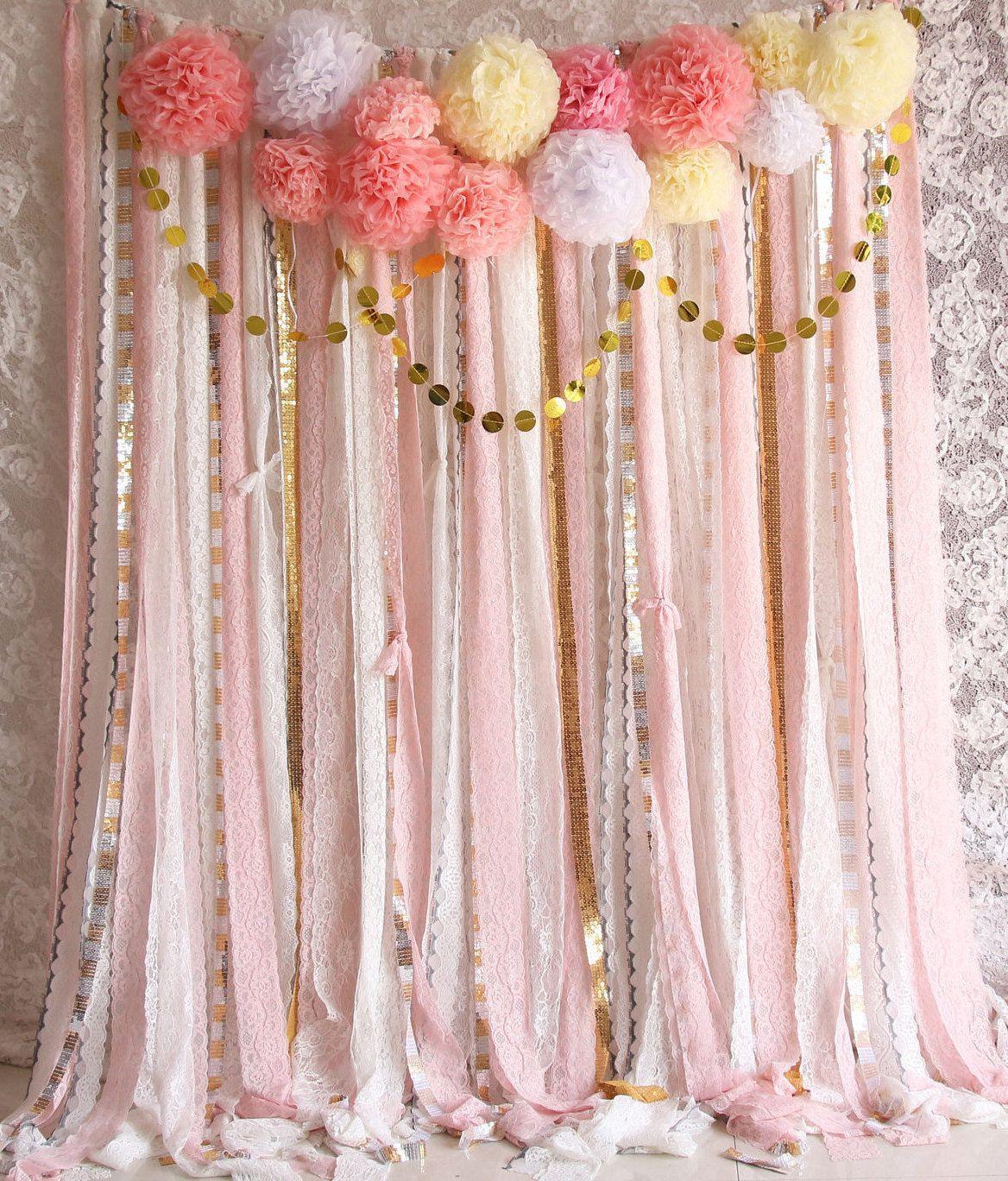 DIY Baby Shower Backdrop  Pink white Lace Pom Poms flowers Sparkle fabric backdrop