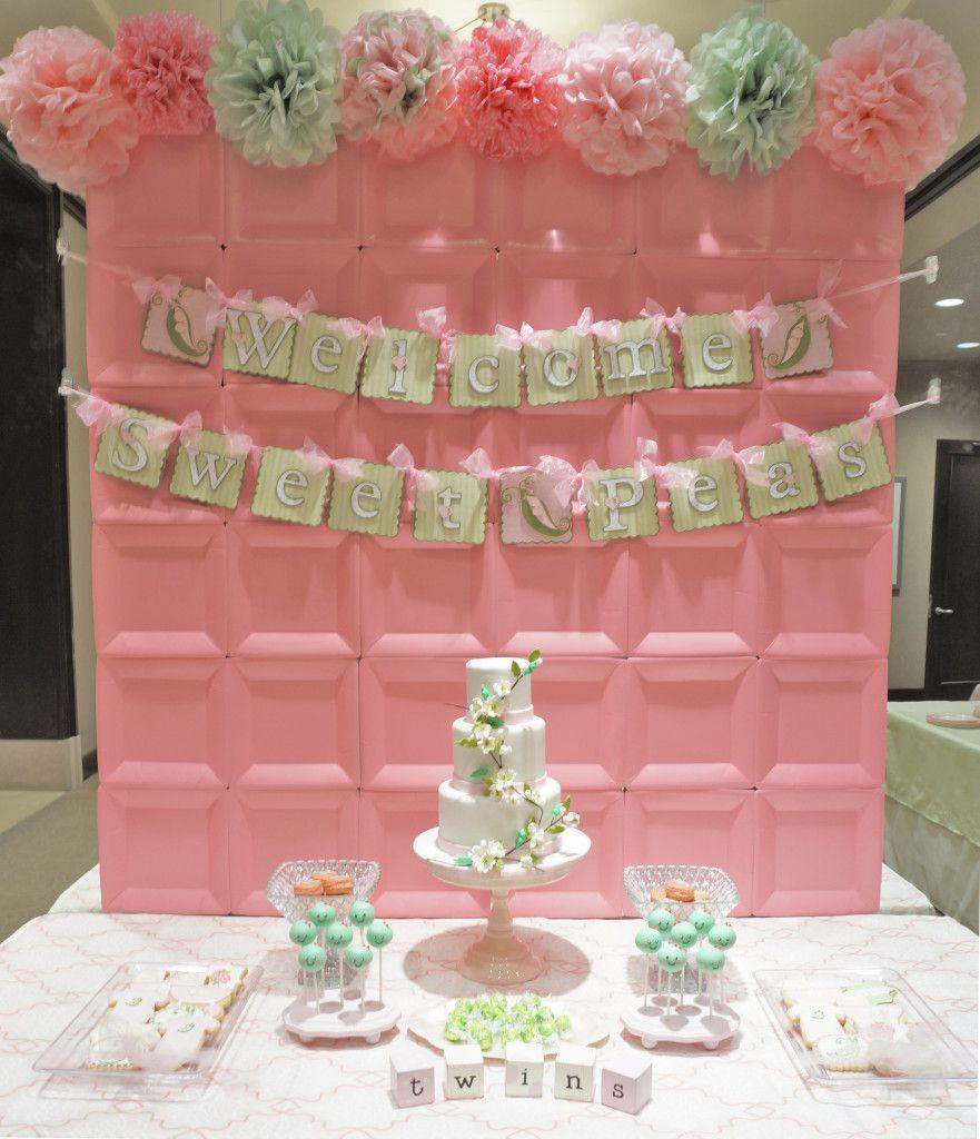 DIY Baby Shower Backdrop  Sweet Pea Pod Twin Girls Baby Shower