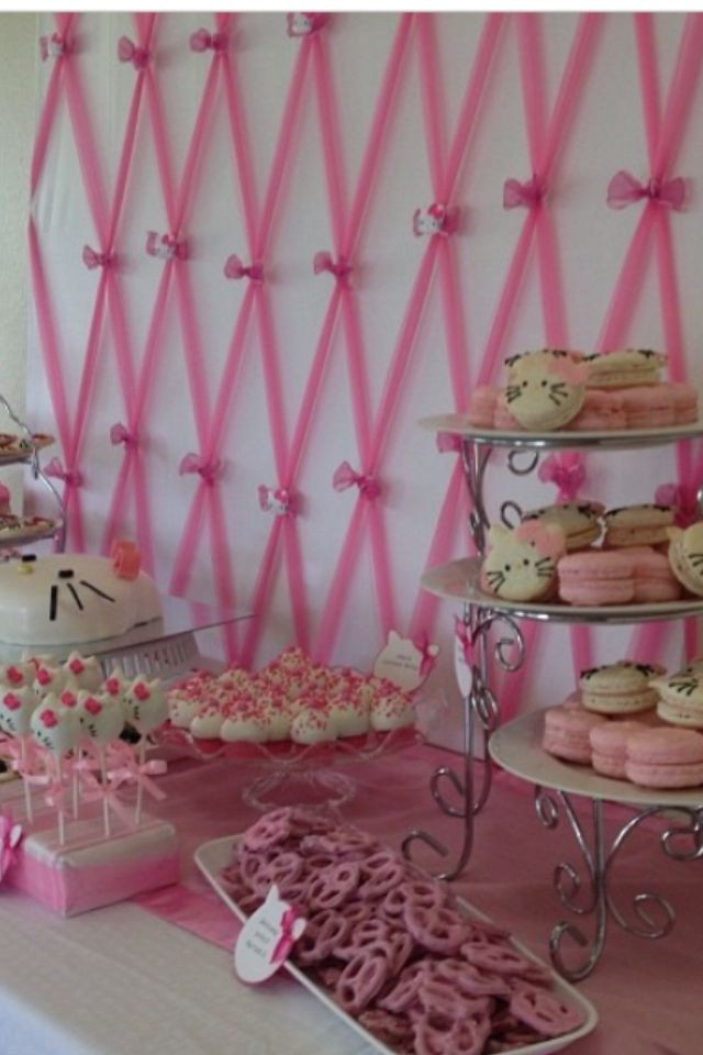 DIY Baby Shower Backdrop  Close up on pink tulle backdrop for hello kitty baby