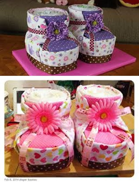 DIY Baby Shower Cakes  DIY Diaper Cake Baby Booties for Baby Shower